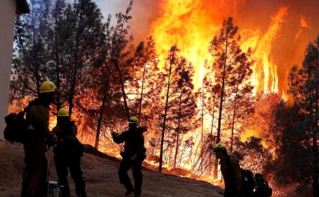 कैलिफोर्निया के जंगल में लगी भीषण आग, 60 किलोमीटर तक फैली लपटें