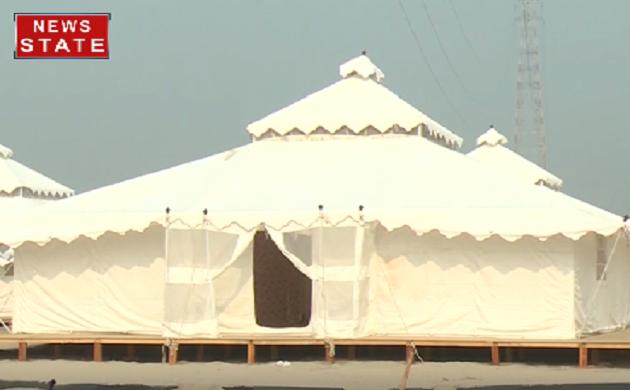 Kumbh 2019: तम्बुओं की शक्ल में 1200 स्विस कॉटेज तैयार देखिए VIDEO
