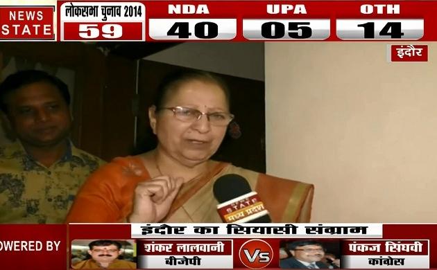 Election 2019 : Sumitra Mahajan ने गलाया नारा कहा अबकी बार NDA की सरकार, देखें Exclusive Interview