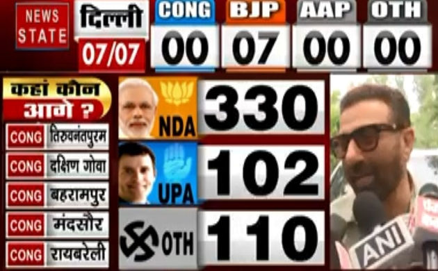 Lok sabha Election Results 2019: बढ़त को लेकर बेहद खुश दिखे सनी देओल, देखें वीडियो