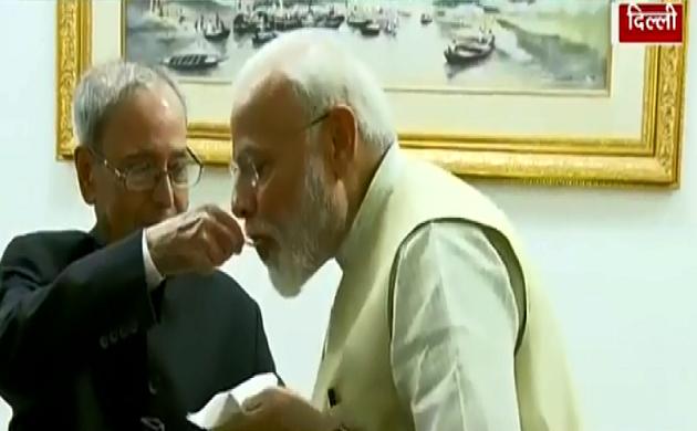 पूर्व राष्ट्रपति Pranab Mukherjee से मिले Narendra Modi