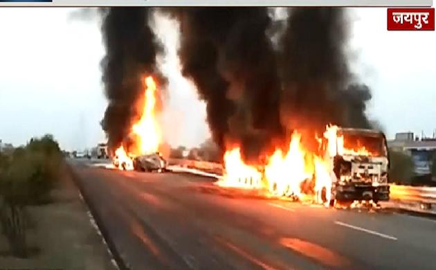 जयपुर में हाइवे पर हाहाकार, आग में जिंदा जल गया एक शख्स