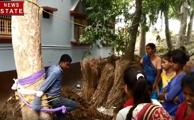 बिहार-मुजफ्फरपुर में ससुरालवालों ने की दामाद की पेड़ से बांधकर पिटाई, देखें वीडियो