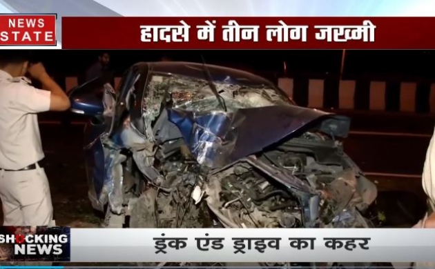 दिल्ली में भीषण हादसा, बेकाबू कार ने मार दी स्ट्रीट लाइट में टक्कर, 3 लोग घायल