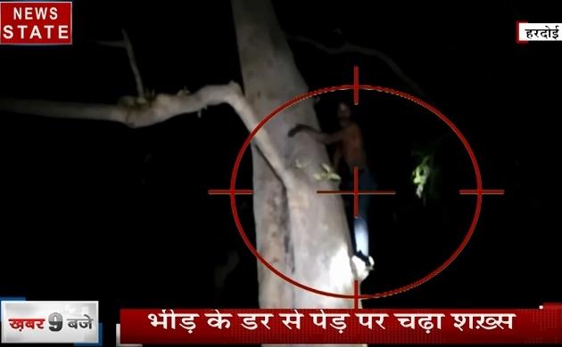 Uttar pradesh: भीड़ से जान बचाने के लिए पेड़ पर चढ़ा युवक, हुआ बच्चा चोर अफवाह का सिकार