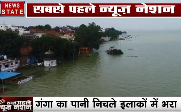 Uttar pradesh:प्रयागराज- बाढ़ से एक लाख लोग प्रभावित, गलियों में चल रही है नाव