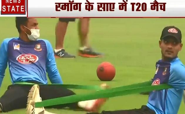 Sports: भारत-बांग्लादेश टी20 मैच पर छाया कोहरे का कहर, प्रैक्टिस मैच में मास्क लगाकर उतरे खिलाड़ी