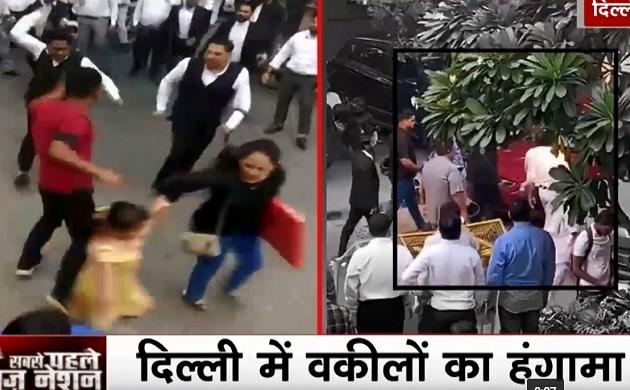 Tis Hazari Court Clash: गुंडागर्दी पर उतरे वकील, साकेत कोर्ट के बाहर पुलिसवाले को जड़े थप्पड़, मारा हेल्मेट