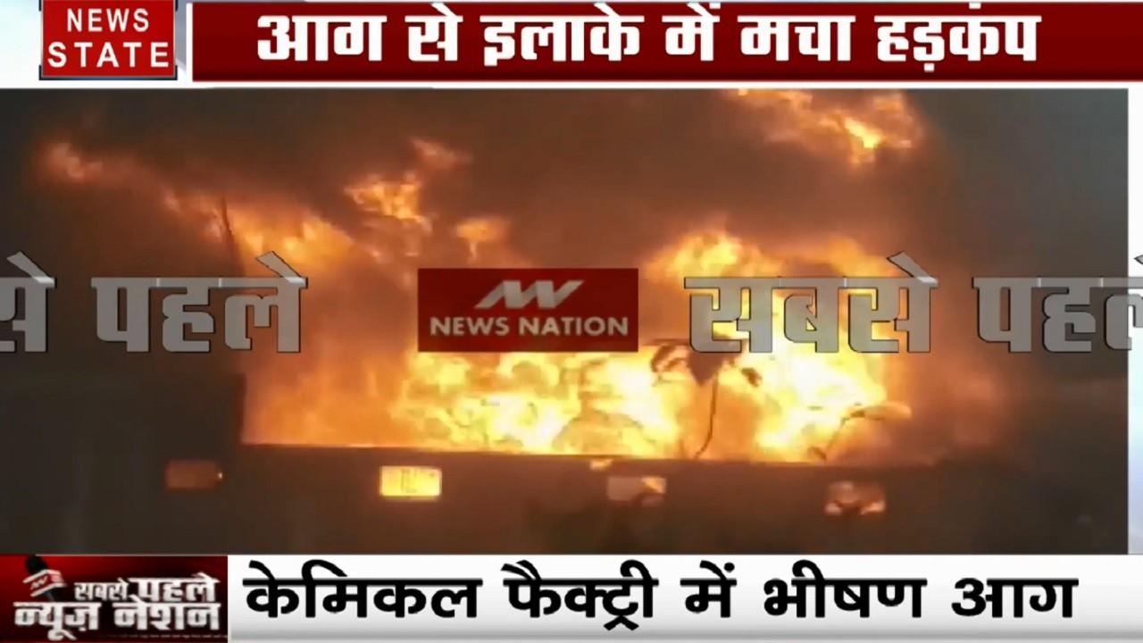 हापुड़: केमिकल फैक्ट्री में लगी भीषण आग, कई मजदूर झुलसे, लाखों का सामान जलकर खाक