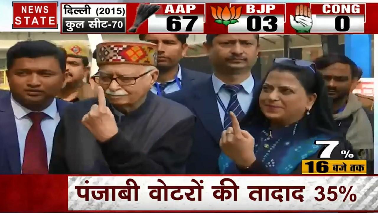 Delhi Election 2020: वरिष्ठ बीजेपी नेता लाल कृष्ण आडवाणी ने डाला वोट, बेटी प्रतिभा भी साथ मौजूद